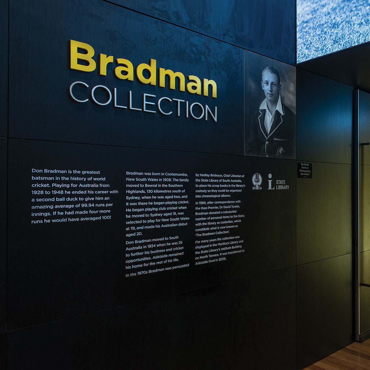 The entrance to the Bradman Collection