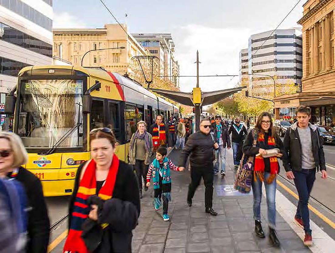 Fans catching the tram to Adelaide Oval