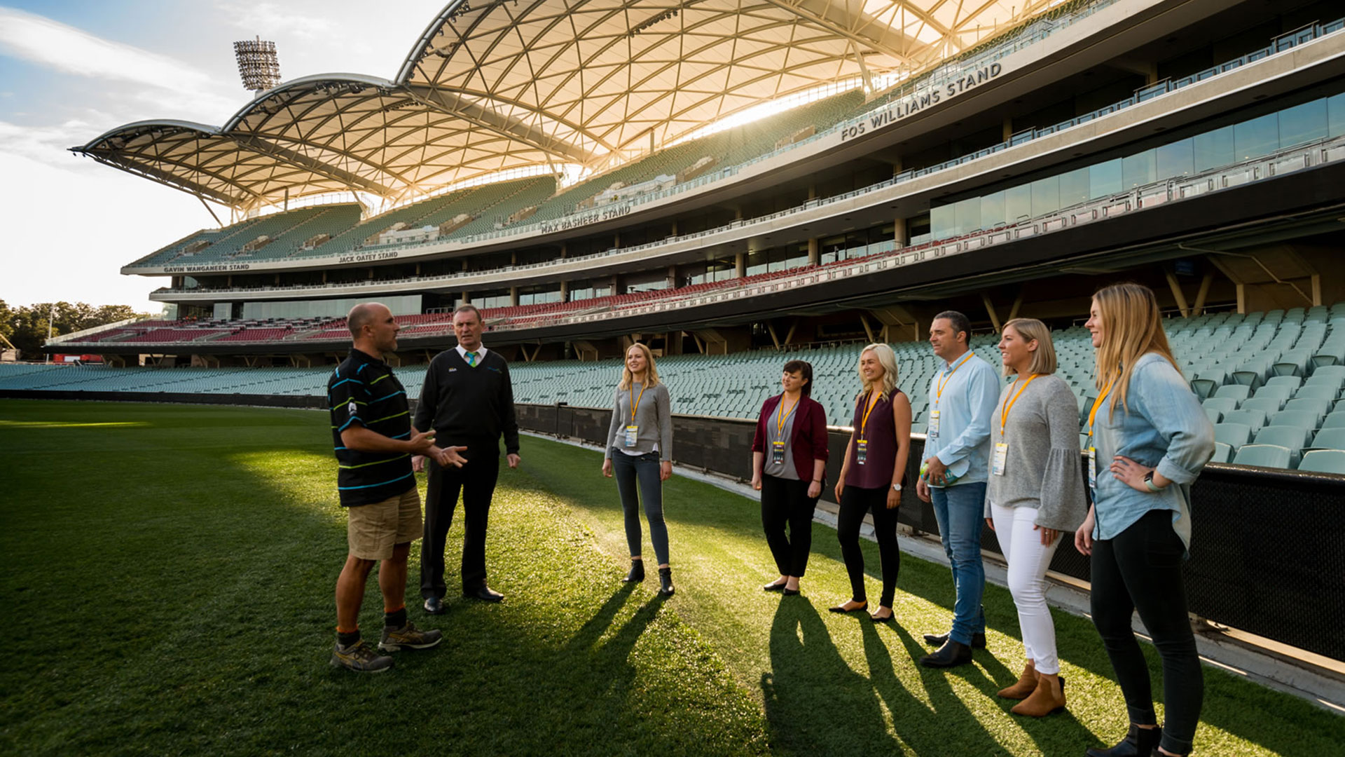 Standing on the turf at Adelaide Oval