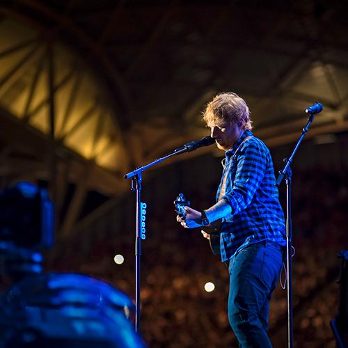 Ed Sheeran performing at Adelaide Oval