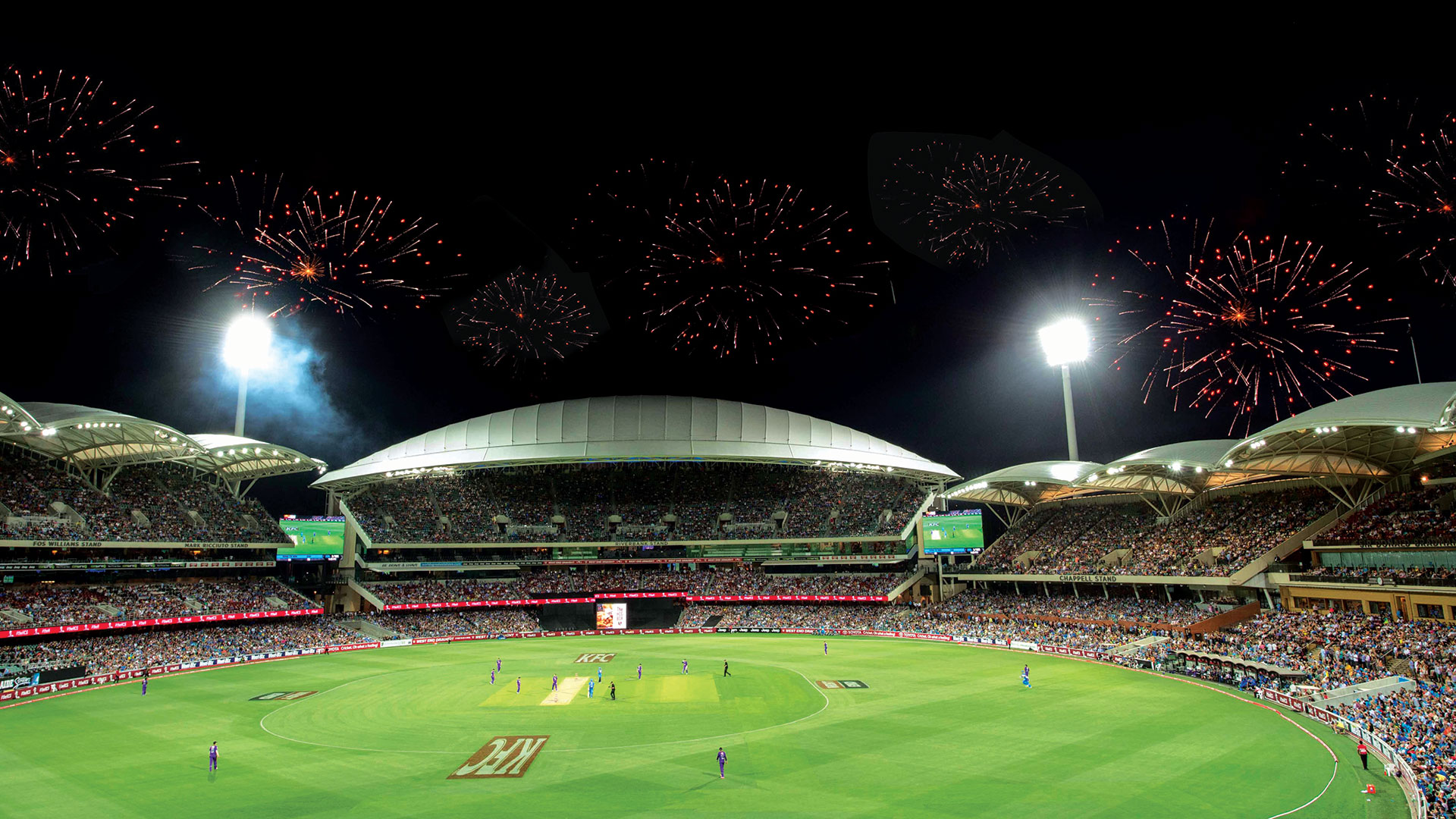 Fireworks over a BBL Match at Adelaide Oval